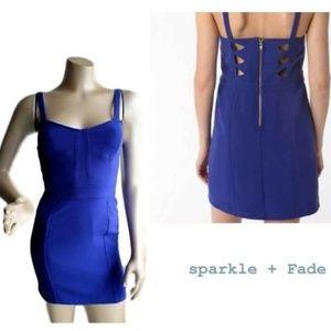 UO Sparkle + Fade Blue Cutout Back Bodycon Dress